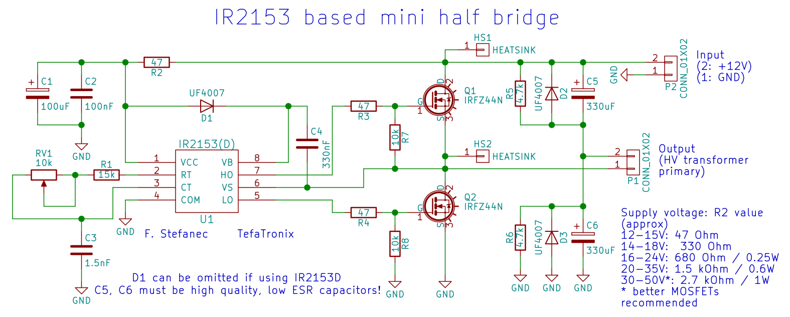 Tefatronix Ir2153 Based Mini Half Bridge Lang Wiring Diagram Circuit