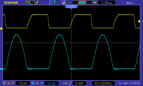 Waveforms - single MOSFET (upper: G-S, lower: D-S)